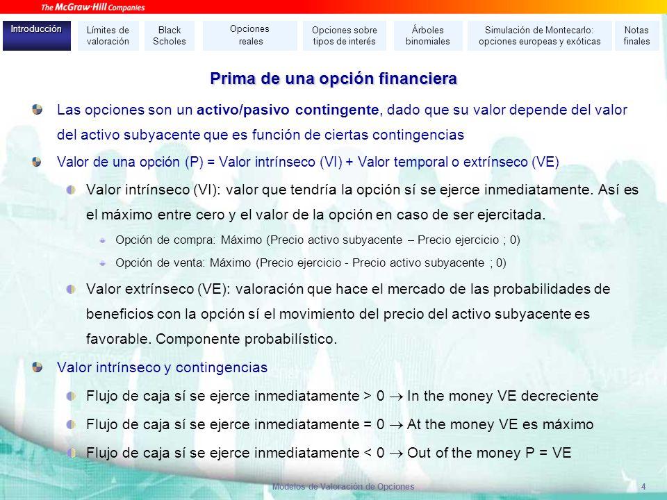 Modelos de Valoración de Opciones4 Prima de una opción financiera Las opciones son un activo/pasivo contingente, dado que su valor depende del valor d