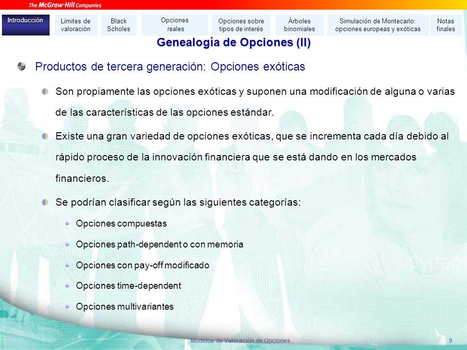Modelos de Valoración de Opciones9 Productos de tercera generación: Opciones exóticas Son propiamente las opciones exóticas y suponen una modificación