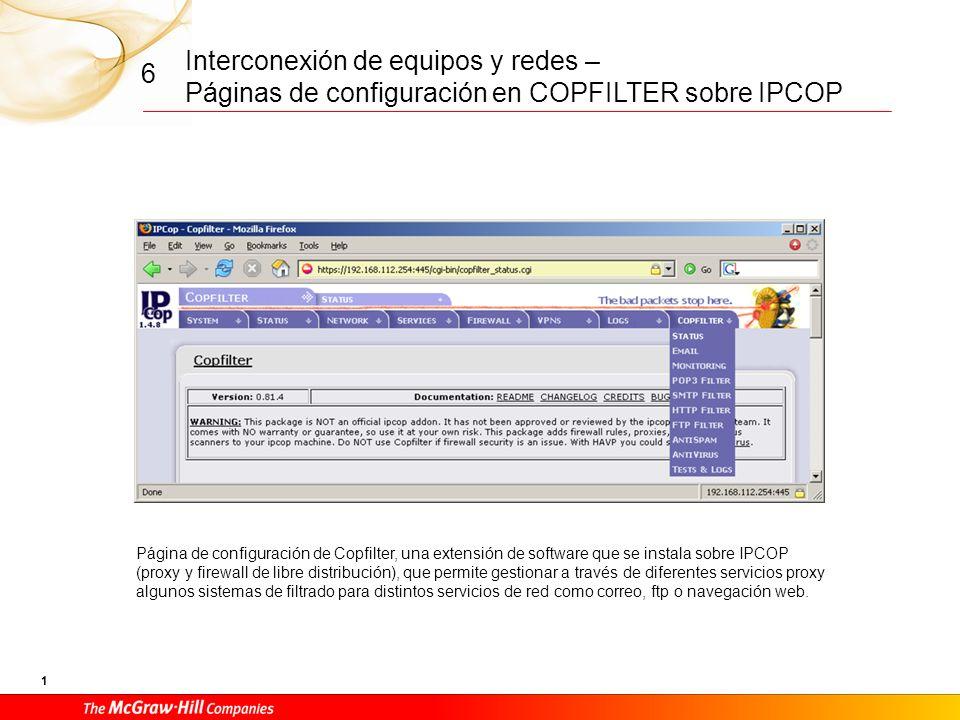 CFGM Redes Locales Documentos: Páginas de configuración en COPFILTER sobre IPCOP