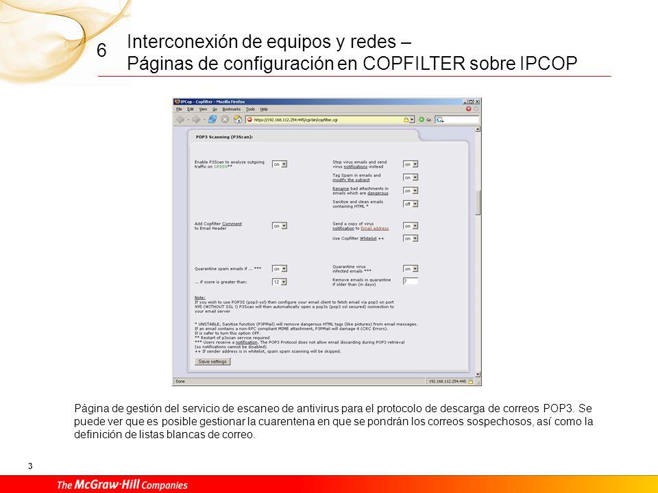 Interconexión de equipos y redes – Páginas de configuración en COPFILTER sobre IPCOP 2 6 Vista en Copfilter del estado de los diferentes servicios que lo componen.