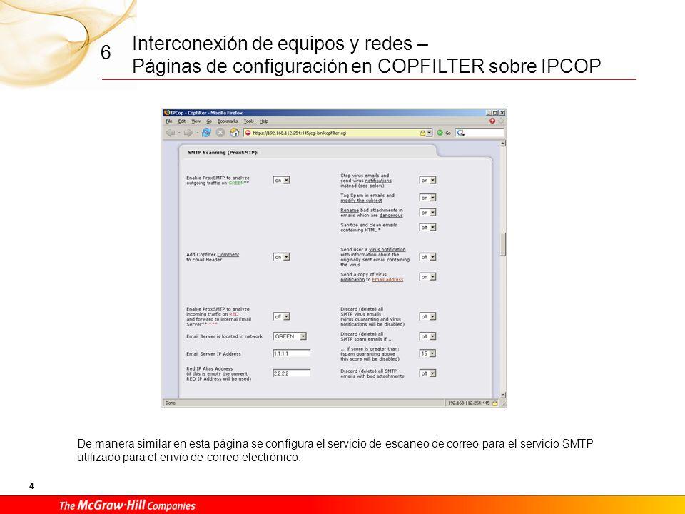 Interconexión de equipos y redes – Páginas de configuración en COPFILTER sobre IPCOP 3 6 Página de gestión del servicio de escaneo de antivirus para el protocolo de descarga de correos POP3.