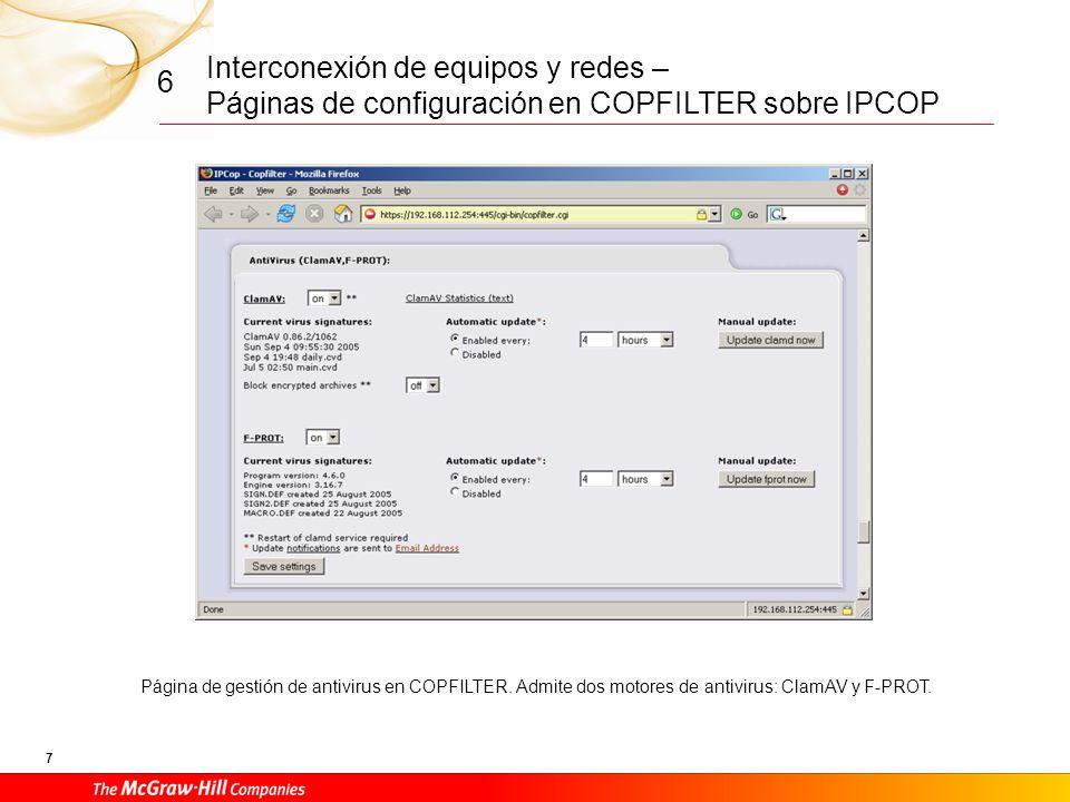 Interconexión de equipos y redes – Páginas de configuración en COPFILTER sobre IPCOP 6 6 Página de gestión de COPFILTER para el servicio de escaneo de virus de ficheros FTP.