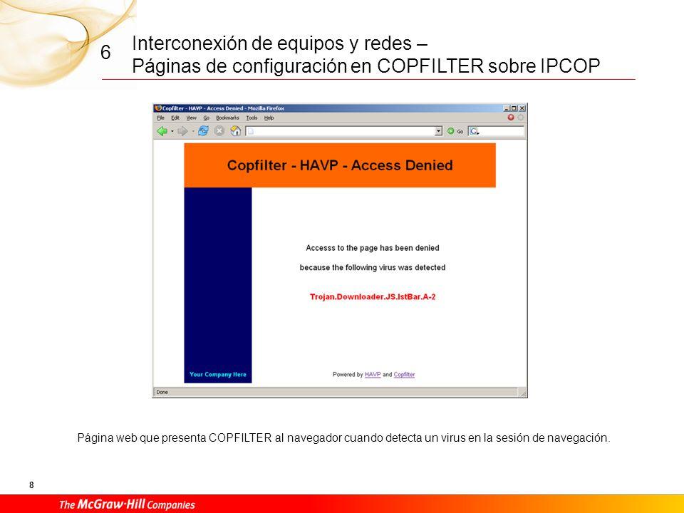 Interconexión de equipos y redes – Páginas de configuración en COPFILTER sobre IPCOP 7 6 Página de gestión de antivirus en COPFILTER.