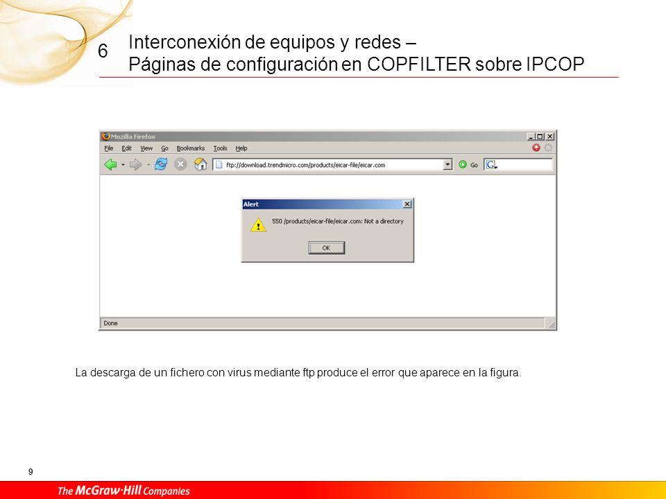 Interconexión de equipos y redes – Páginas de configuración en COPFILTER sobre IPCOP 8 6 Página web que presenta COPFILTER al navegador cuando detecta un virus en la sesión de navegación.