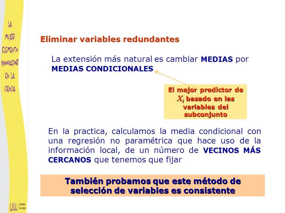 Data source: Tadesse, Sha and Vannucci (2005) Método basado en la media condicional Método basado en la media condicional Ejemplo con datos simulados