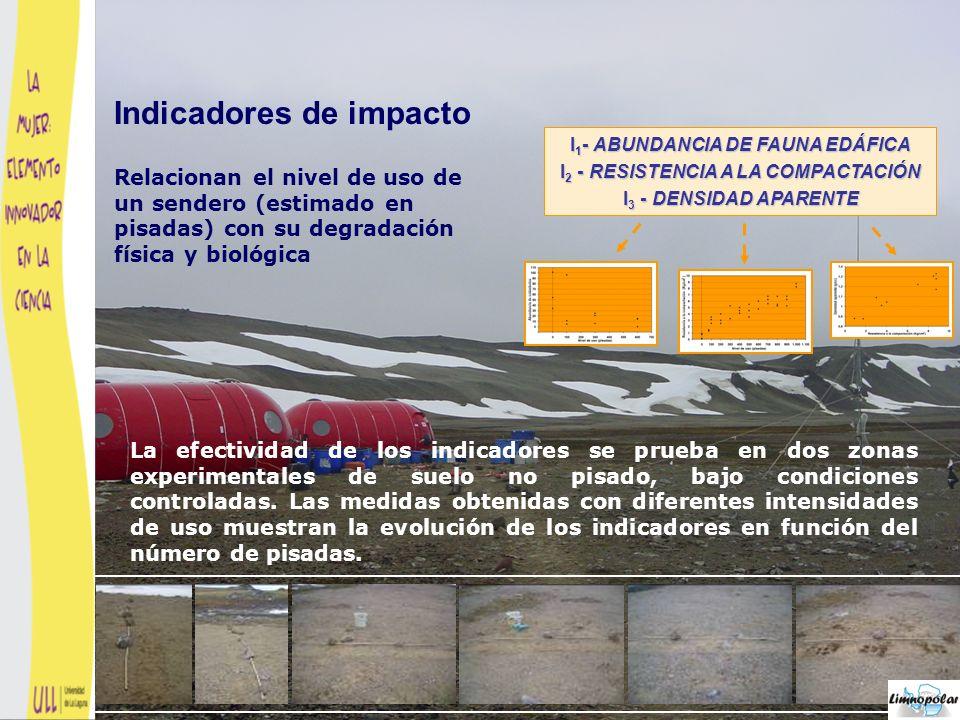 Los tres indicadores muestran que el impacto siempre crece cuando aumenta el número de pisadas Indicadores de impacto
