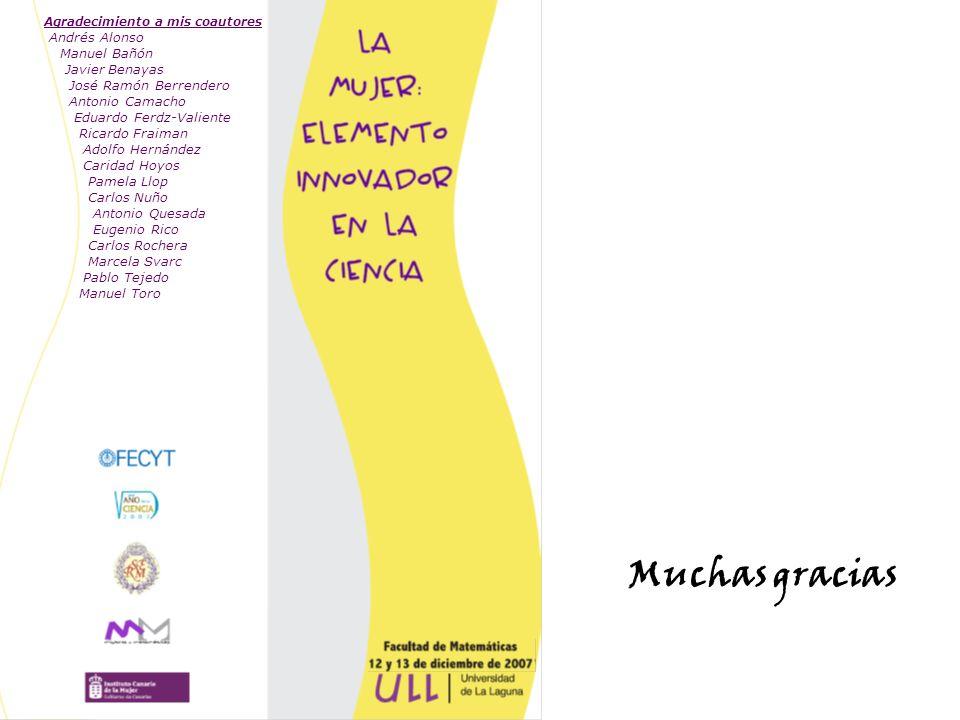 Muchas gracias Agradecimiento a mis coautores Andrés Alonso Manuel Bañón Javier Benayas José Ramón Berrendero Antonio Camacho Eduardo Ferdz-Valiente R