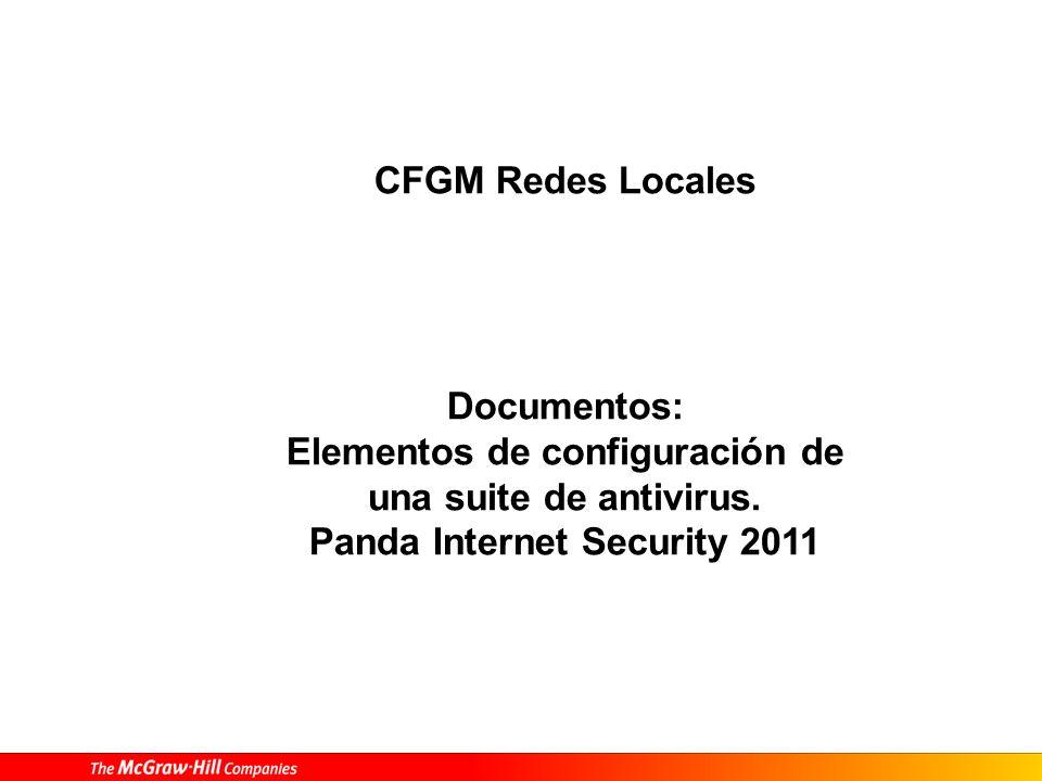 Protección, vigilancia y soporte de redes – Elementos de configuración de una suite de antivirus 20 8 Ficha de enlaces a los diferentes servicios proporcionados desde Internet.