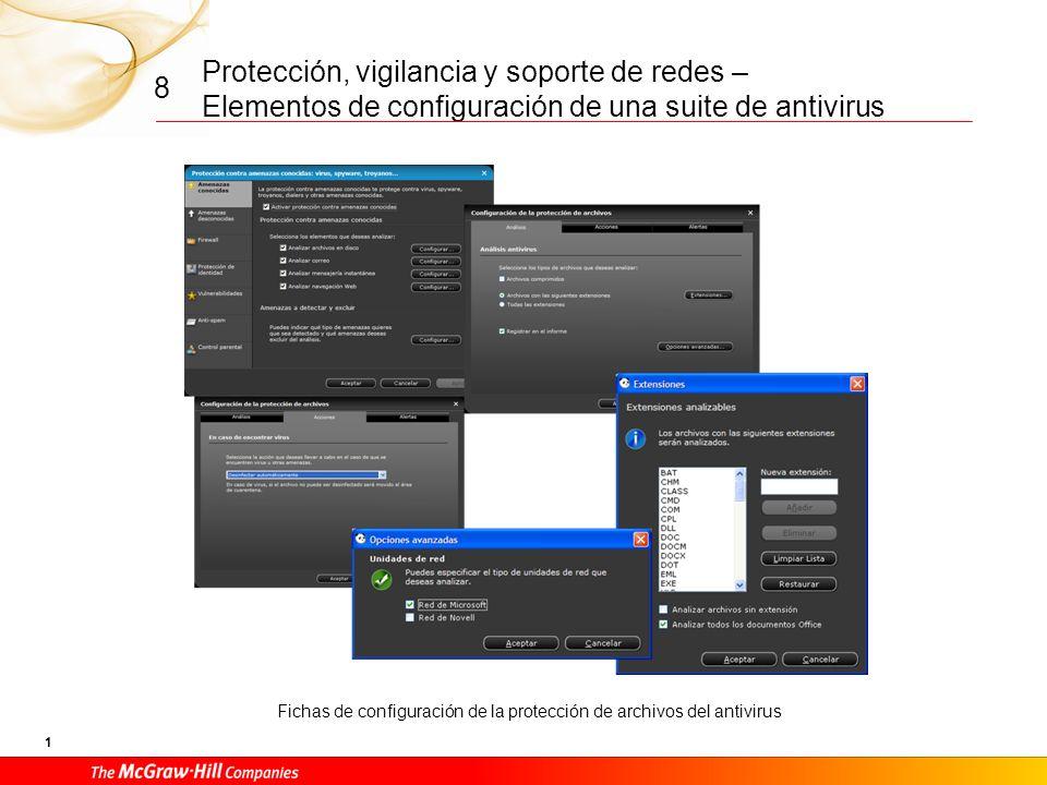 Protección, vigilancia y soporte de redes – Elementos de configuración de una suite de antivirus 11 8 Fichas de configuración del filtrado antispam para los clientes de correo electrónico compatibles con el antispam de la suite, por ejemplo, Microsoft Outlook.