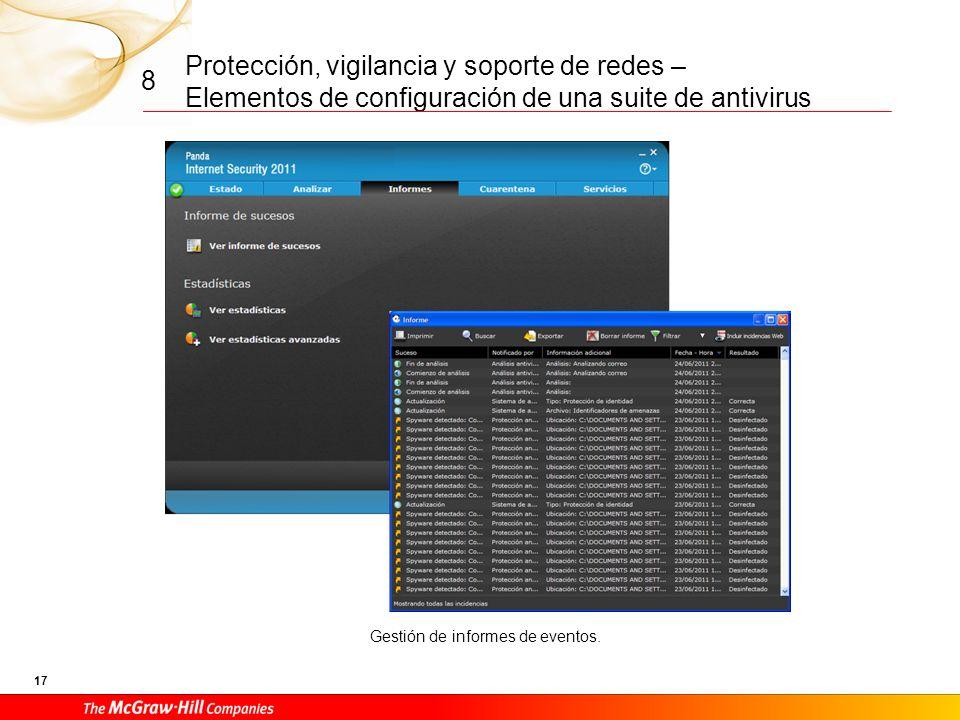Protección, vigilancia y soporte de redes – Elementos de configuración de una suite de antivirus 16 8 Definición del tipo de análisis a realizar y del