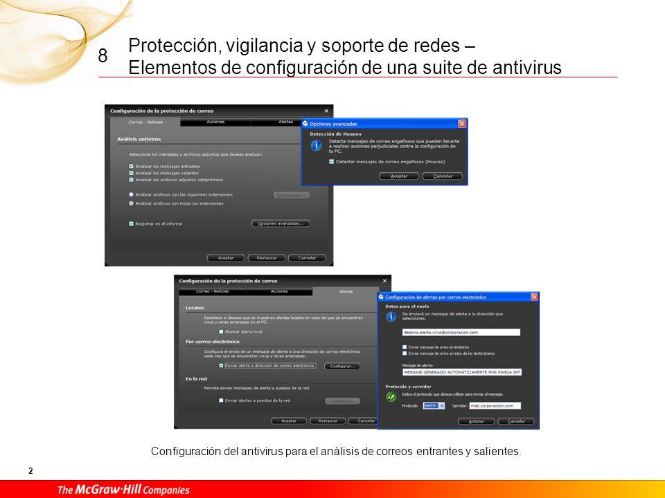Protección, vigilancia y soporte de redes – Elementos de configuración de una suite de antivirus 22 8 Gestión del acceso a Internet a través de proxy y de las restricciones mediante contraseña de modificación de la protección de los diversos servicios provistos.