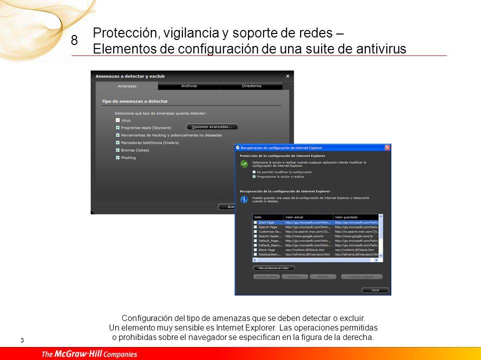 Protección, vigilancia y soporte de redes – Elementos de configuración de una suite de antivirus 3 8 Configuración del tipo de amenazas que se deben detectar o excluir.