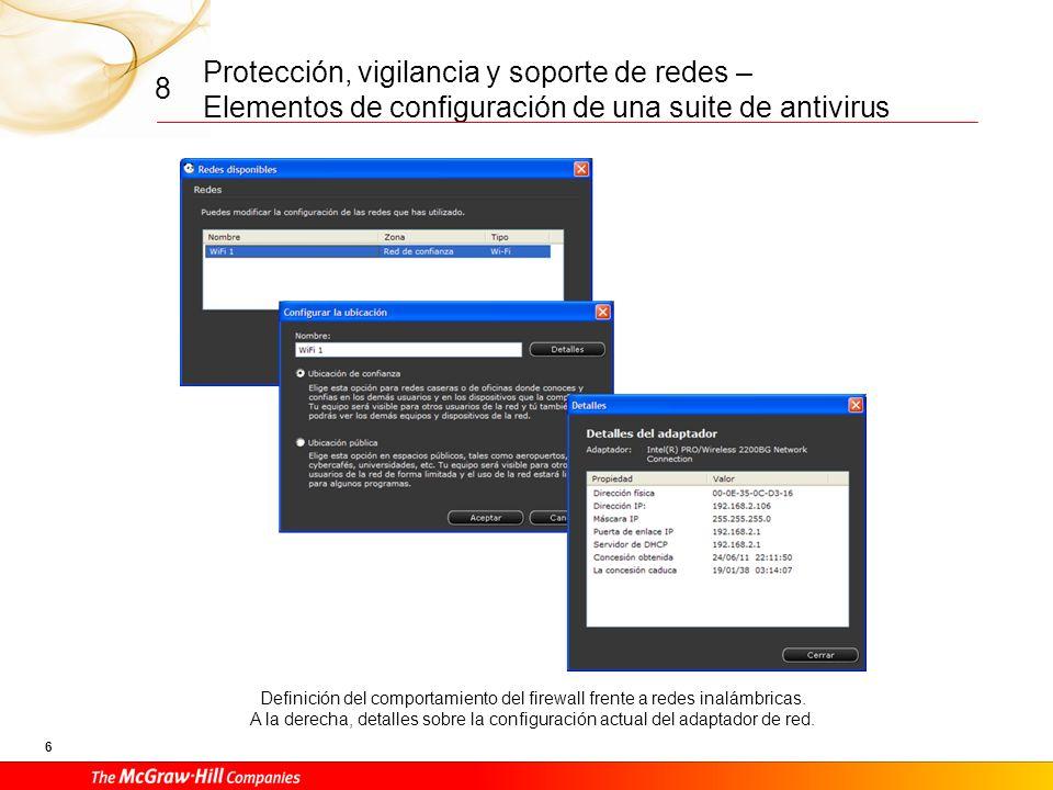 Protección, vigilancia y soporte de redes – Elementos de configuración de una suite de antivirus 6 8 Definición del comportamiento del firewall frente a redes inalámbricas.