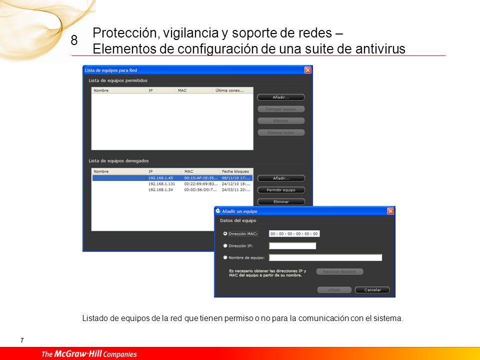 Protección, vigilancia y soporte de redes – Elementos de configuración de una suite de antivirus 7 8 Listado de equipos de la red que tienen permiso o no para la comunicación con el sistema.