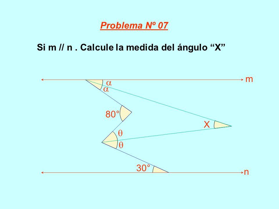 Si m // n. Calcule la medida del ángulo X 80° 30° X m n Problema Nº 07