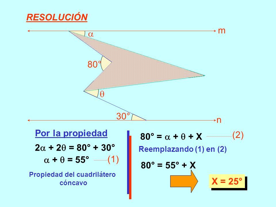 2 + 2 = 80° + 30° Por la propiedad Propiedad del cuadrilátero cóncavo + = 55° (1) 80° = + + X (2) Reemplazando (1) en (2) 80° = 55° + X X = 25° 80° 30