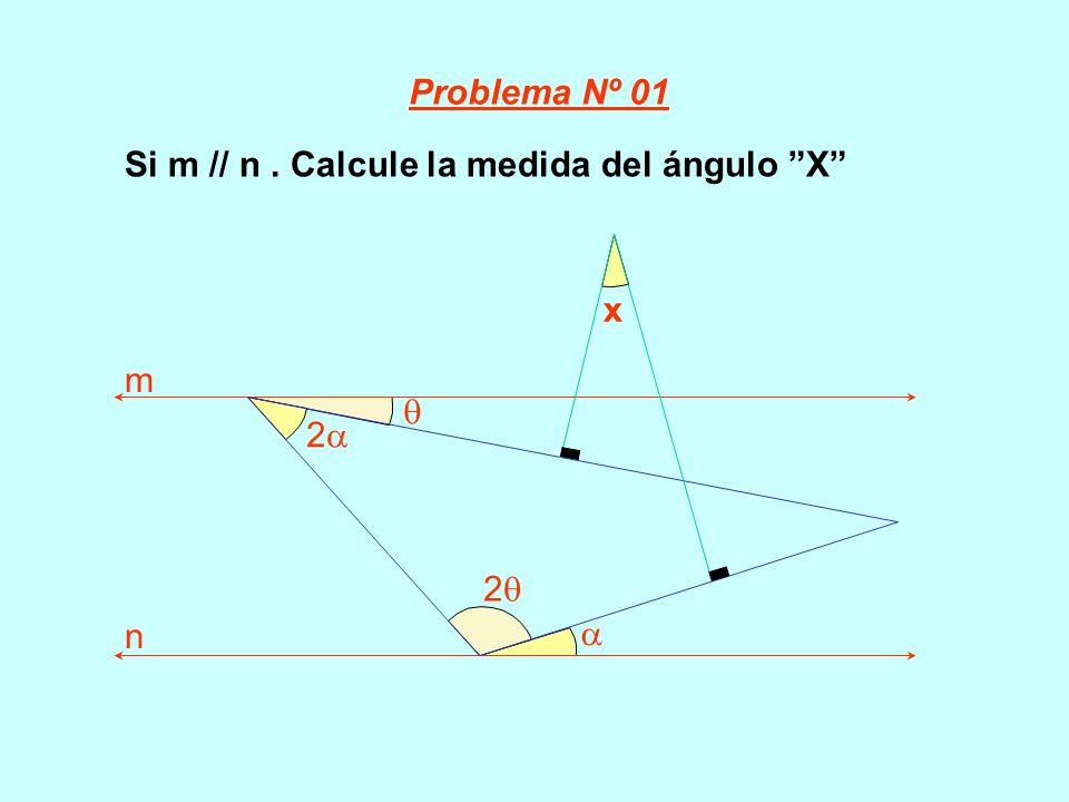 Si m // n. Calcule la medida del ángulo X 2 x m n 2 Problema Nº 01