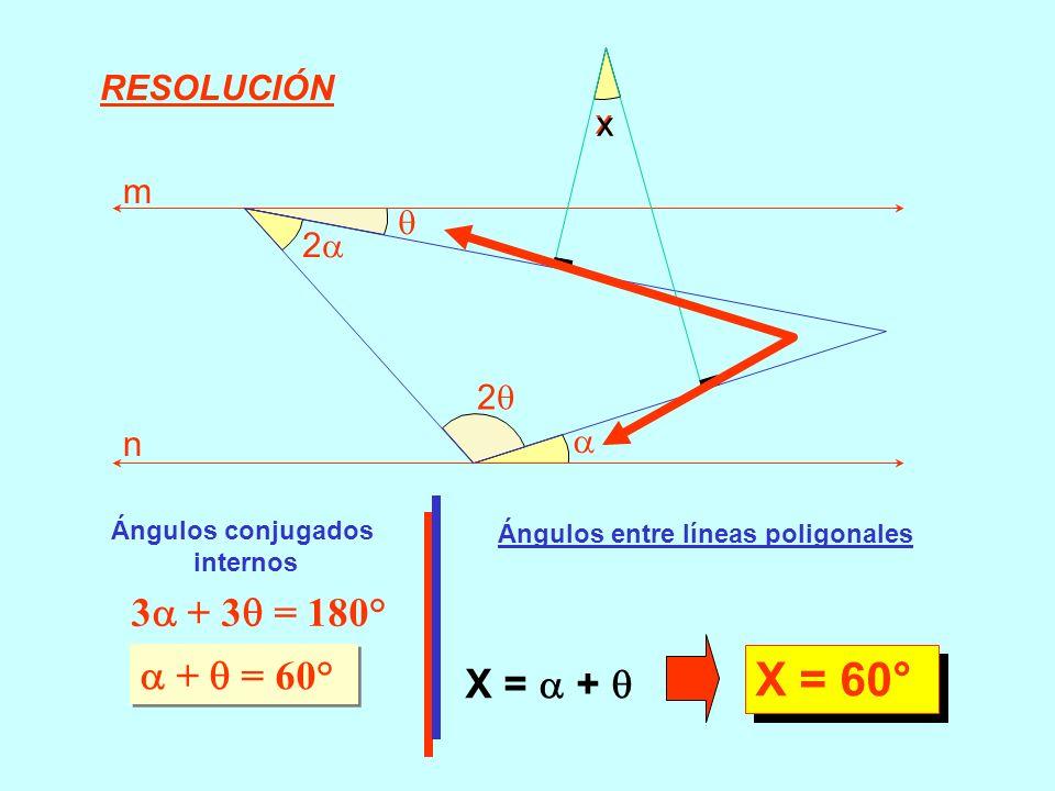 3 + 3 = 180° + = 60° Ángulos entre líneas poligonales X = + X = 60° RESOLUCIÓN 2 x m n 2 x Ángulos conjugados internos