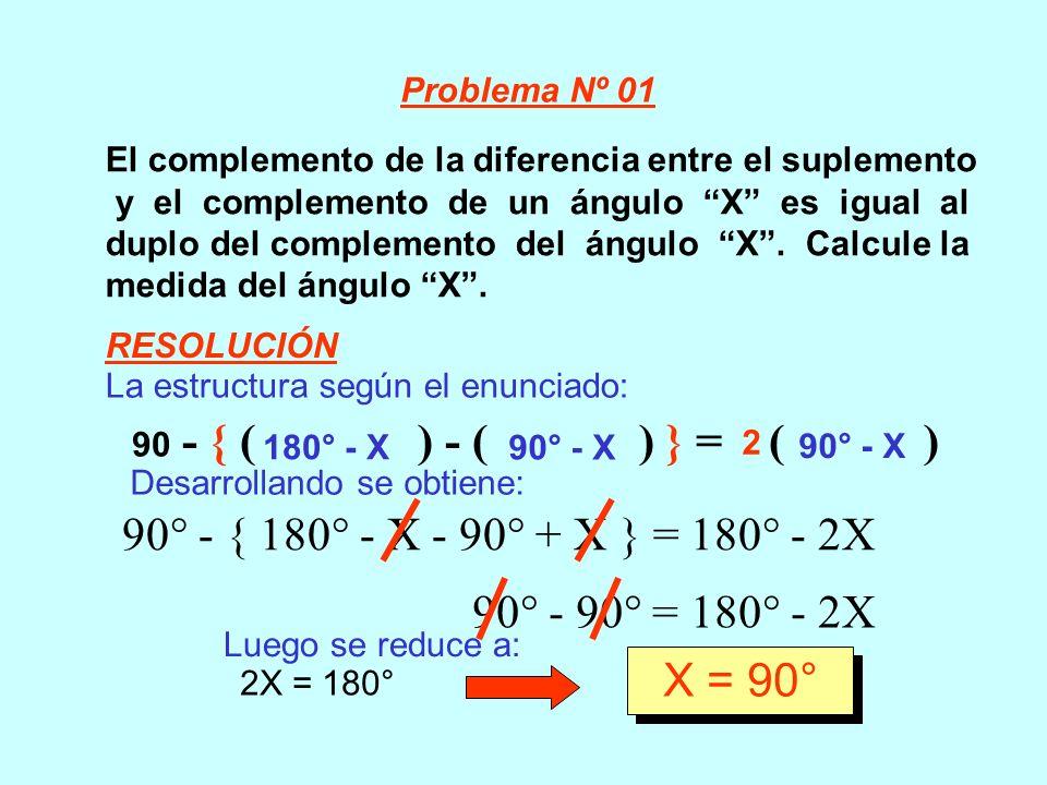 El complemento de la diferencia entre el suplemento y el complemento de un ángulo X es igual al duplo del complemento del ángulo X. Calcule la medida
