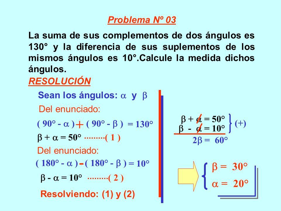 La suma de sus complementos de dos ángulos es 130° y la diferencia de sus suplementos de los mismos ángulos es 10°.Calcule la medida dichos ángulos. S