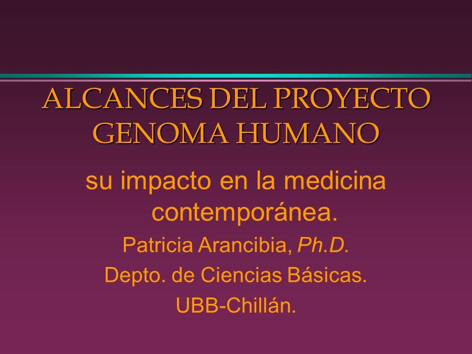 ALCANCES DEL PROYECTO GENOMA HUMANO su impacto en la medicina contemporánea. Patricia Arancibia, Ph.D. Depto. de Ciencias Básicas. UBB-Chillán.