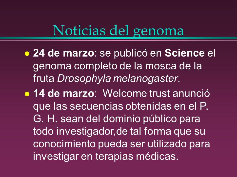 Noticias del genoma l 24 de marzo: se publicó en Science el genoma completo de la mosca de la fruta Drosophyla melanogaster. l 14 de marzo: Welcome tr