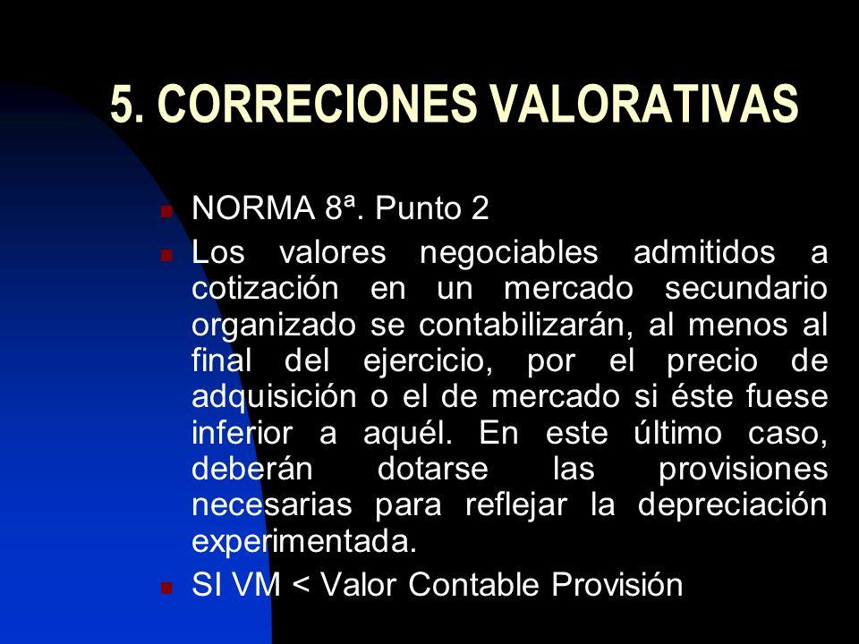 5. CORRECIONES VALORATIVAS NORMA 8ª. Punto 2 Los valores negociables admitidos a cotización en un mercado secundario organizado se contabilizarán, al