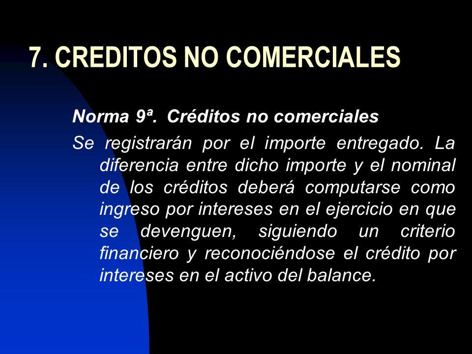 7. CREDITOS NO COMERCIALES Norma 9ª.Créditos no comerciales Se registrarán por el importe entregado. La diferencia entre dicho importe y el nominal de