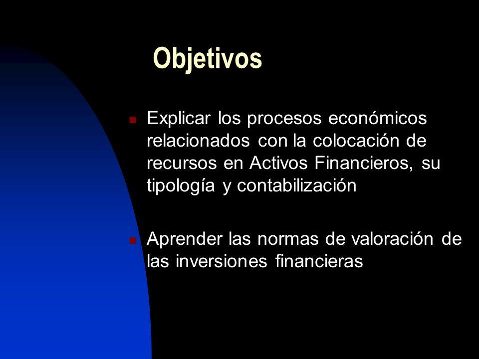 Objetivos Explicar los procesos económicos relacionados con la colocación de recursos en Activos Financieros, su tipología y contabilización Aprender