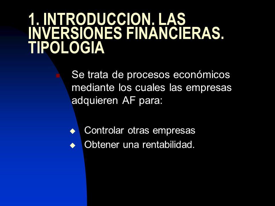 1. INTRODUCCION. LAS INVERSIONES FINANCIERAS. TIPOLOGIA Se trata de procesos económicos mediante los cuales las empresas adquieren AF para: Controlar