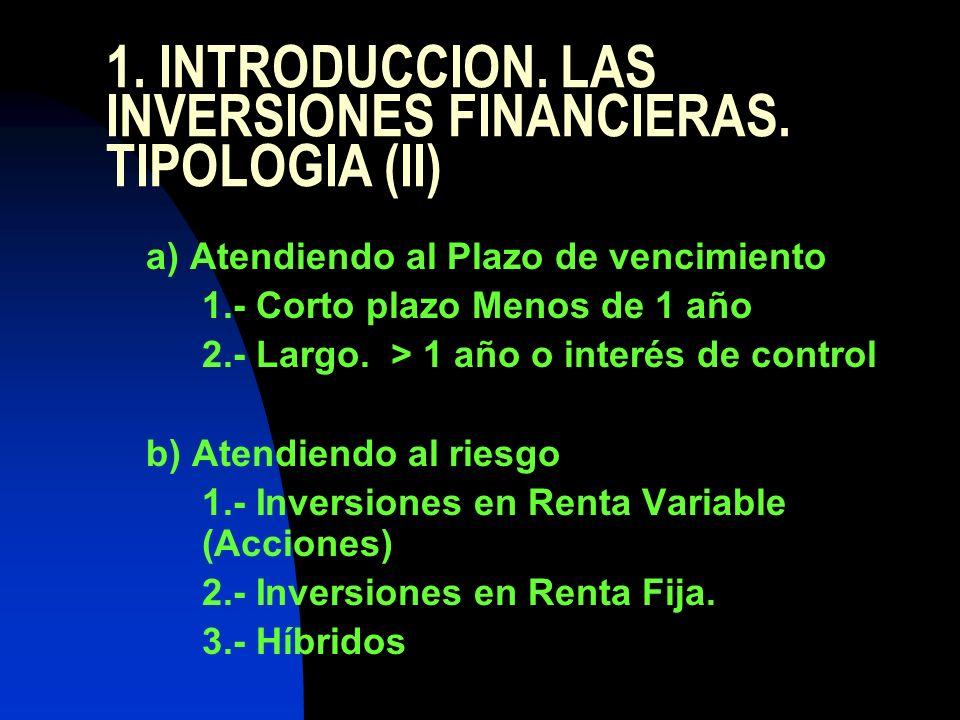 1. INTRODUCCION. LAS INVERSIONES FINANCIERAS. TIPOLOGIA (II) a) Atendiendo al Plazo de vencimiento 1.- Corto plazo Menos de 1 año 2.- Largo. > 1 año o