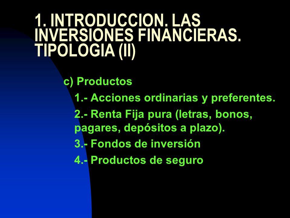 1. INTRODUCCION. LAS INVERSIONES FINANCIERAS. TIPOLOGIA (II) c) Productos 1.- Acciones ordinarias y preferentes. 2.- Renta Fija pura (letras, bonos, p