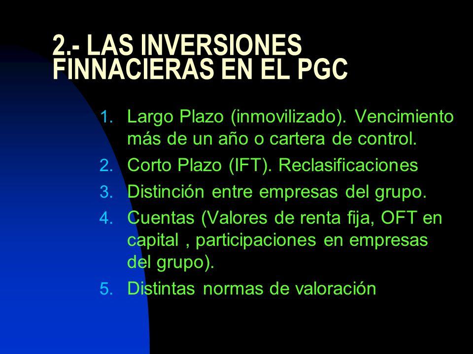 2.- LAS INVERSIONES FINNACIERAS EN EL PGC 1. Largo Plazo (inmovilizado). Vencimiento más de un año o cartera de control. 2. Corto Plazo (IFT). Reclasi