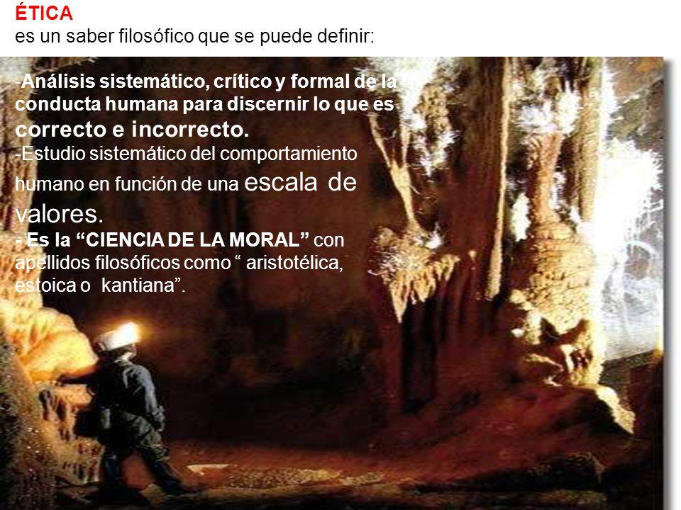ÉTICA es un saber filosófico que se puede definir: -Análisis sistemático, crítico y formal de la conducta humana para discernir lo que es correcto e i