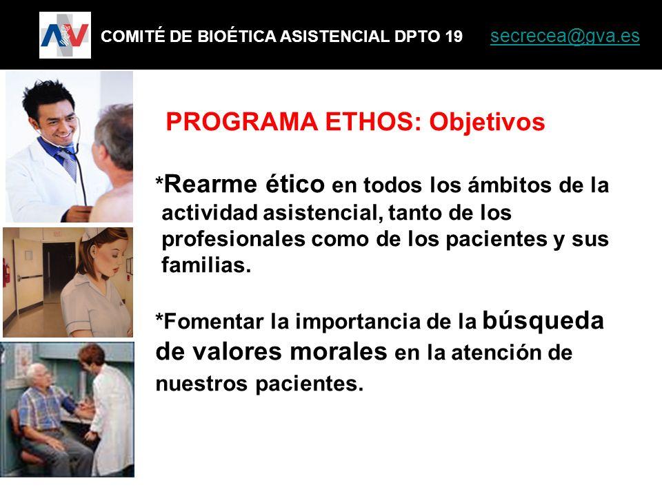 PROGRAMA ETHOS: Objetivos * Rearme ético en todos los ámbitos de la actividad asistencial, tanto de los profesionales como de los pacientes y sus fami