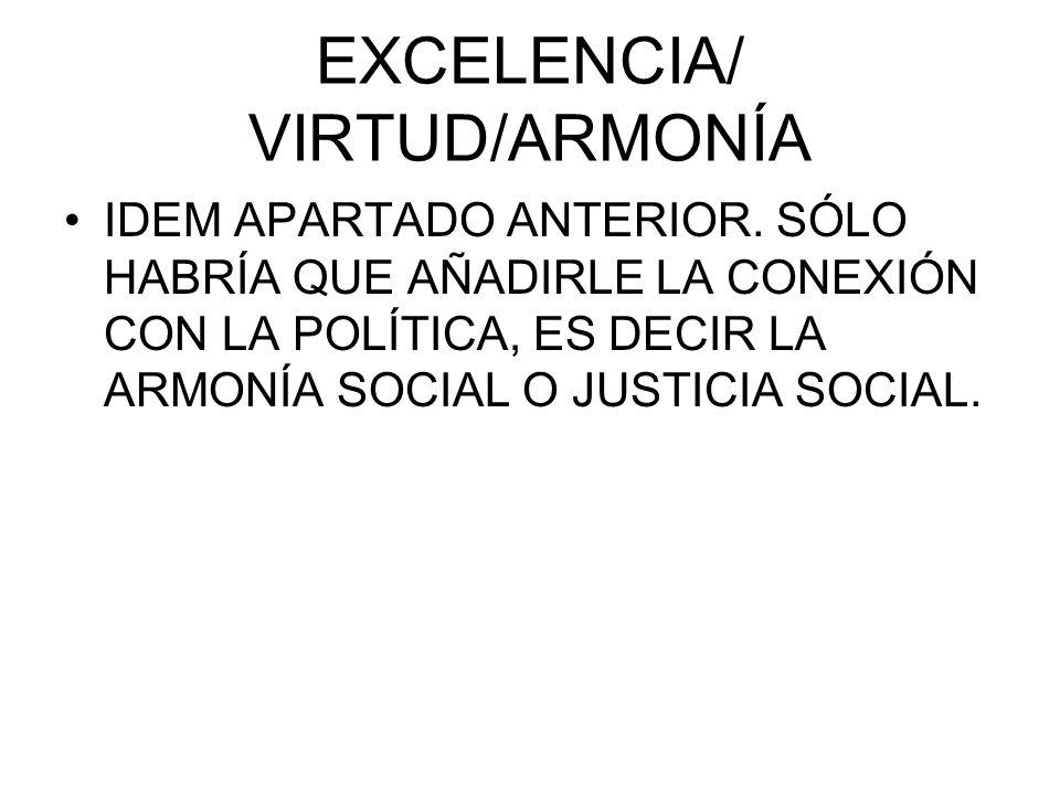 EXCELENCIA/ VIRTUD/ARMONÍA IDEM APARTADO ANTERIOR. SÓLO HABRÍA QUE AÑADIRLE LA CONEXIÓN CON LA POLÍTICA, ES DECIR LA ARMONÍA SOCIAL O JUSTICIA SOCIAL.
