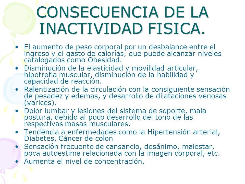 CONSECUENCIA DE LA INACTIVIDAD FISICA. El aumento de peso corporal por un desbalance entre el ingreso y el gasto de calorías, que puede alcanzar nivel
