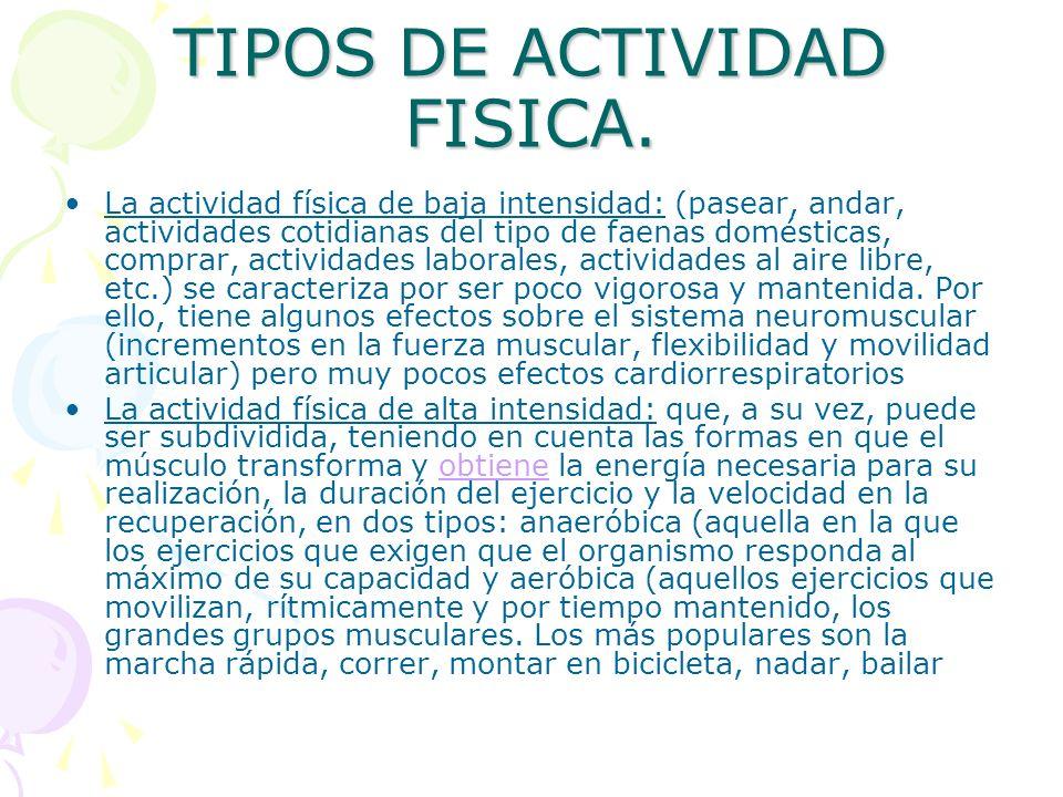 TIPOS DE ACTIVIDAD FISICA. La actividad física de baja intensidad: (pasear, andar, actividades cotidianas del tipo de faenas domésticas, comprar, acti