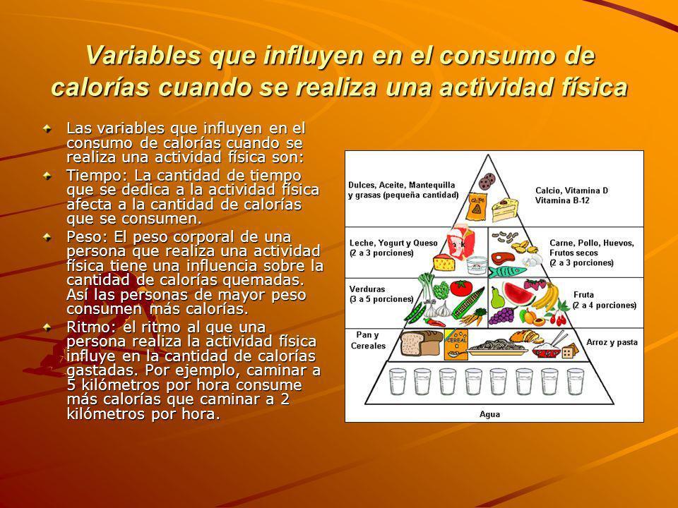 Variables que influyen en el consumo de calorías cuando se realiza una actividad física Las variables que influyen en el consumo de calorías cuando se realiza una actividad física son: Tiempo: La cantidad de tiempo que se dedica a la actividad física afecta a la cantidad de calorías que se consumen.