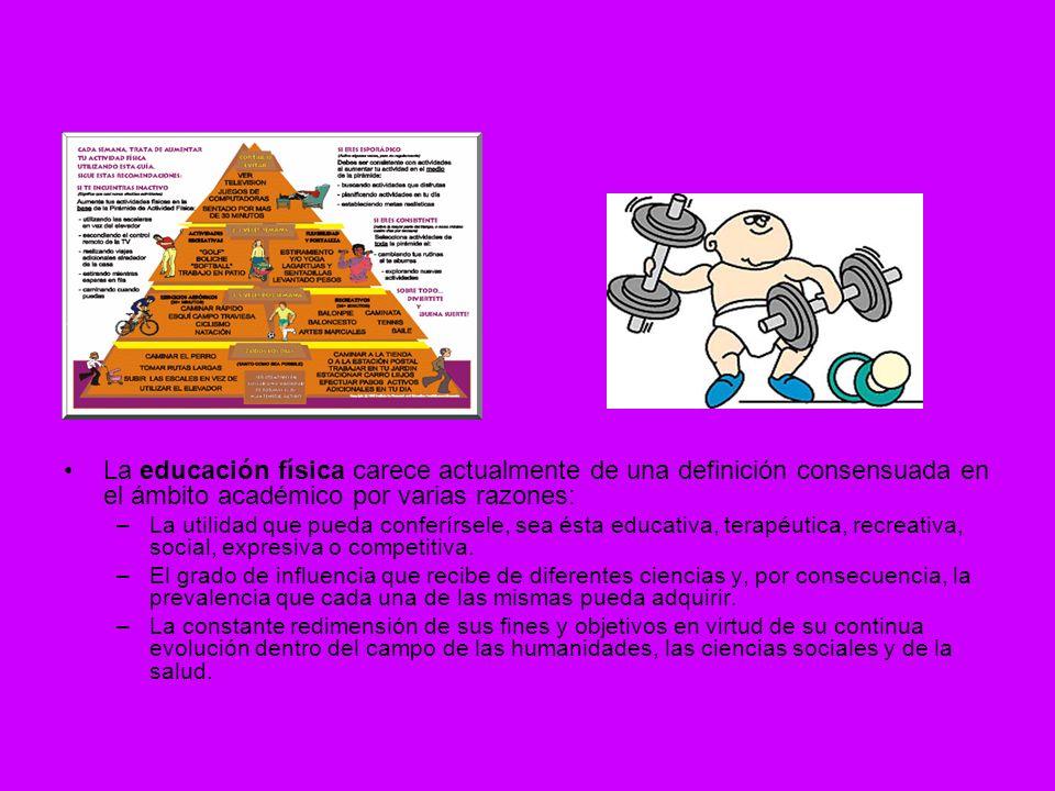 La educación física carece actualmente de una definición consensuada en el ámbito académico por varias razones: –L–La utilidad que pueda conferírsele,