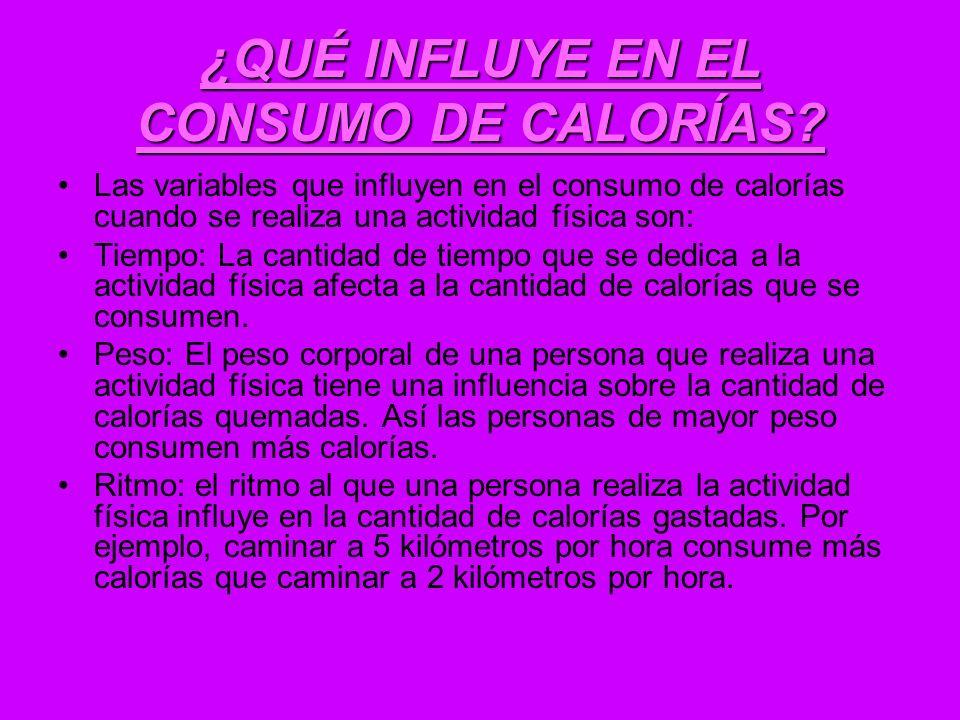 ¿QUÉ INFLUYE EN EL CONSUMO DE CALORÍAS? Las variables que influyen en el consumo de calorías cuando se realiza una actividad física son: Tiempo: La ca