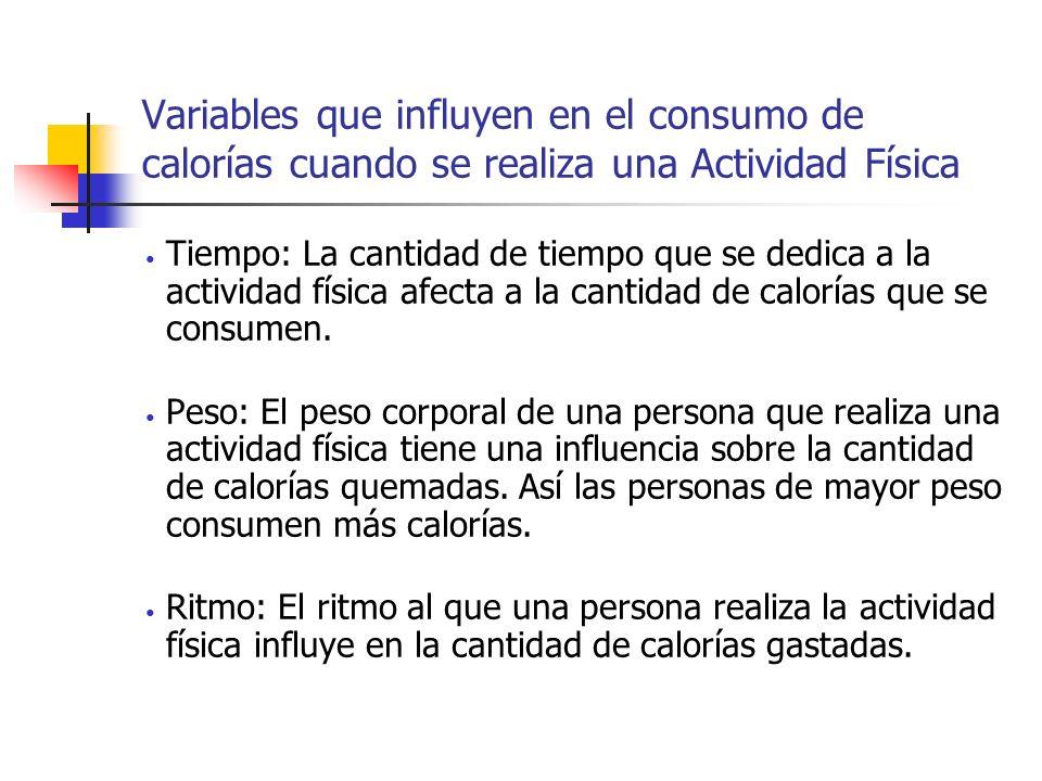 Variables que influyen en el consumo de calorías cuando se realiza una Actividad Física Tiempo: La cantidad de tiempo que se dedica a la actividad fís
