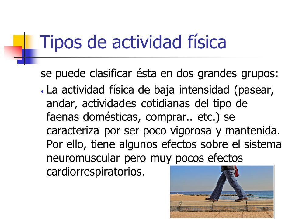 Tipos de actividad física se puede clasificar ésta en dos grandes grupos: La actividad física de baja intensidad (pasear, andar, actividades cotidiana