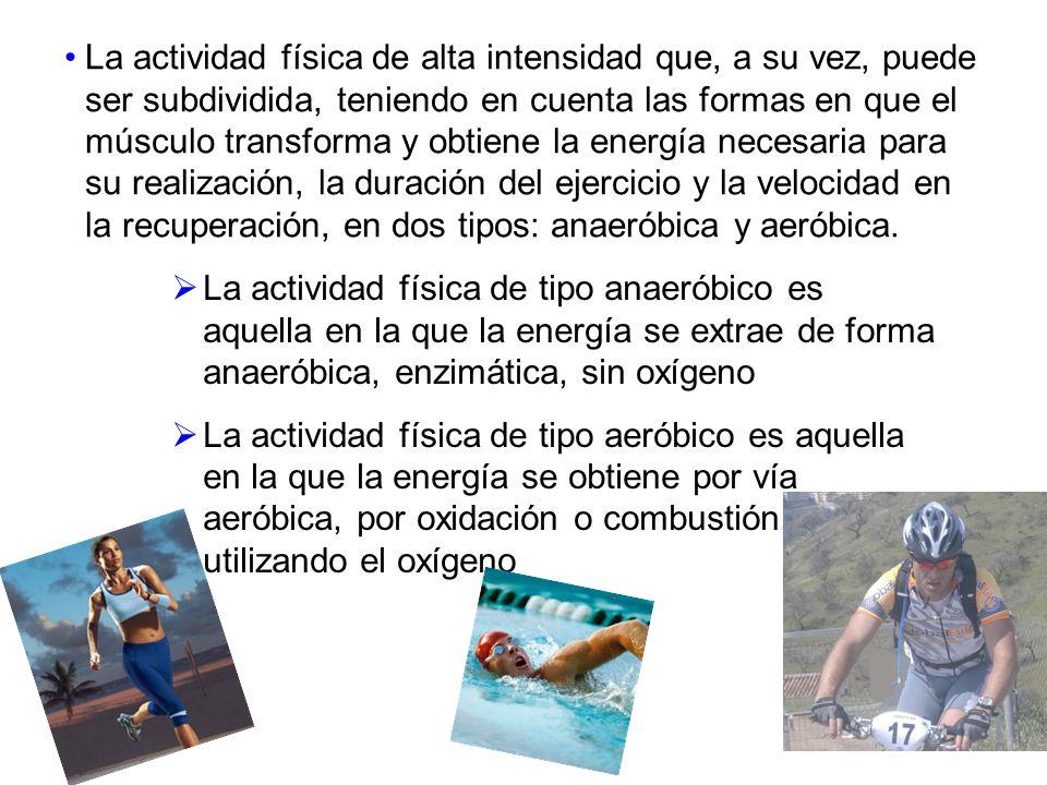 La actividad física de alta intensidad que, a su vez, puede ser subdividida, teniendo en cuenta las formas en que el músculo transforma y obtiene la e