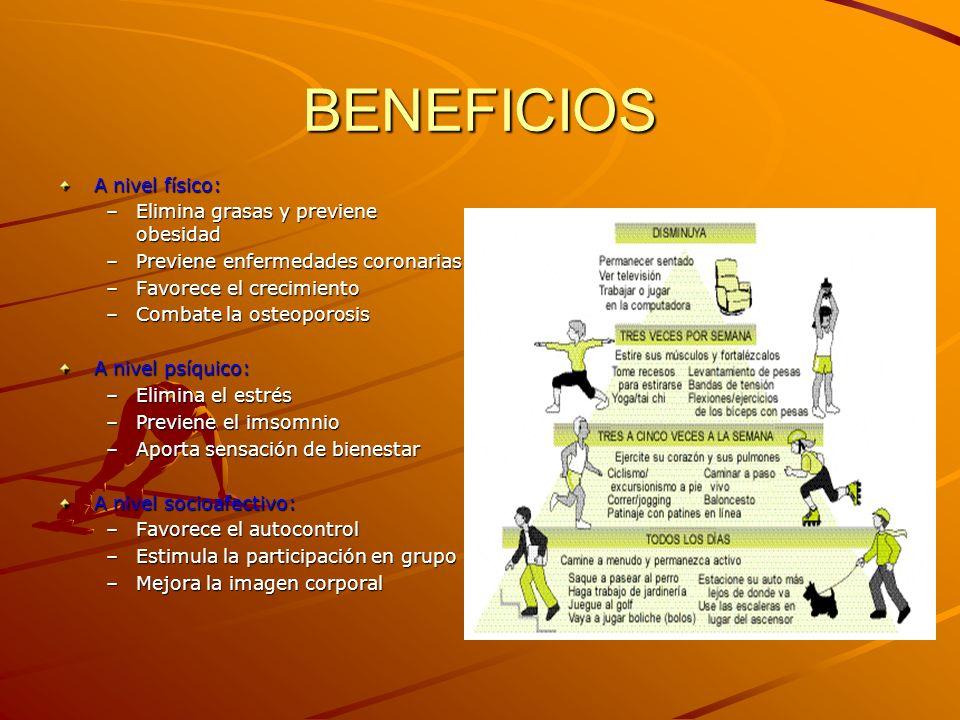 BENEFICIOS A nivel físico: –Elimina grasas y previene obesidad –Previene enfermedades coronarias –Favorece el crecimiento –Combate la osteoporosis A nivel psíquico: –Elimina el estrés –Previene el imsomnio –Aporta sensación de bienestar A nivel socioafectivo: –Favorece el autocontrol –Estimula la participación en grupo –Mejora la imagen corporal