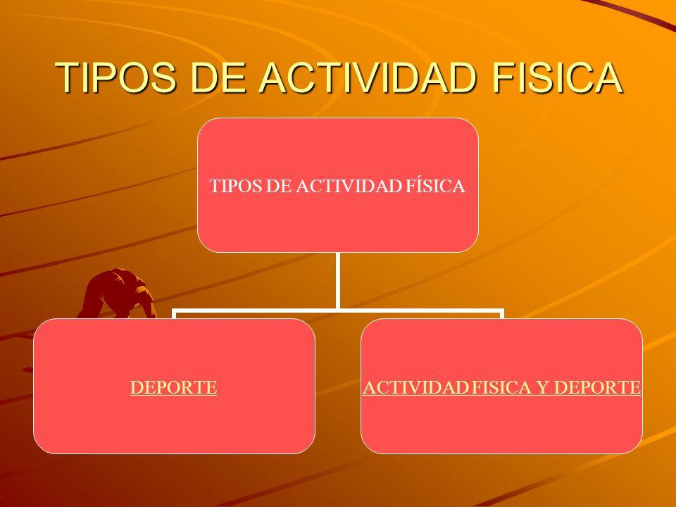 TIPOS DE ACTIVIDAD FISICA TIPOS DE ACTIVIDAD FÍSICA DEPORTE ACTIVIDAD FISICA Y DEPORTE