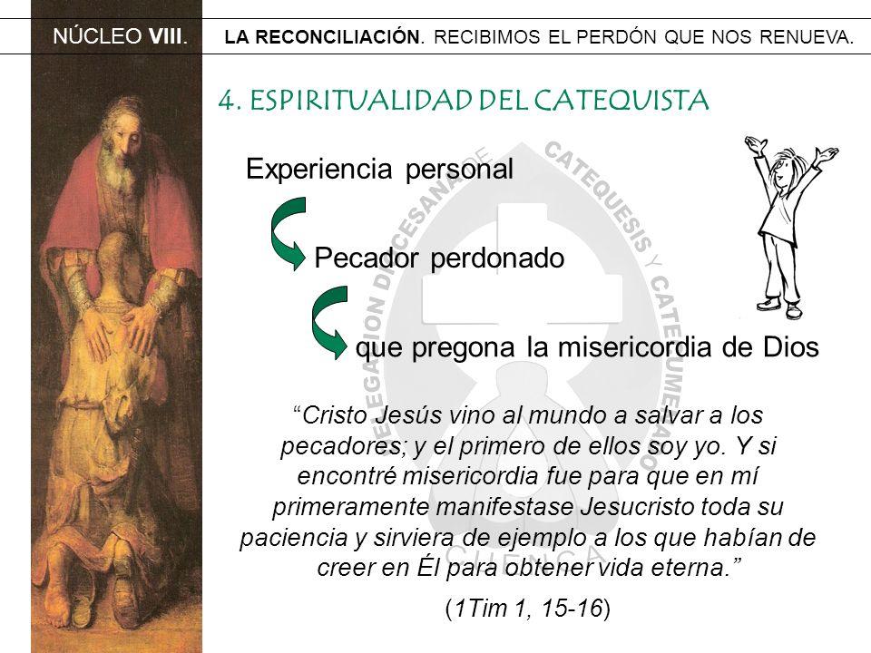 NÚCLEO VIII. LA RECONCILIACIÓN. RECIBIMOS EL PERDÓN QUE NOS RENUEVA. 4. ESPIRITUALIDAD DEL CATEQUISTA Experiencia personal Pecador perdonado que prego