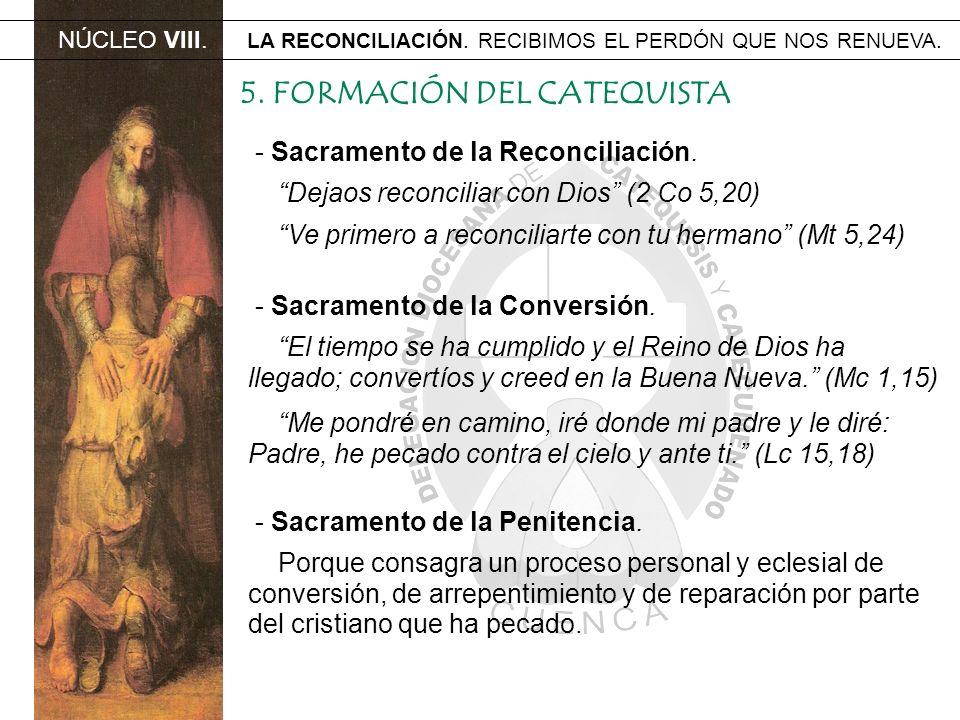 NÚCLEO VIII. LA RECONCILIACIÓN. RECIBIMOS EL PERDÓN QUE NOS RENUEVA. 5. FORMACIÓN DEL CATEQUISTA - Sacramento de la Reconciliación. Dejaos reconciliar