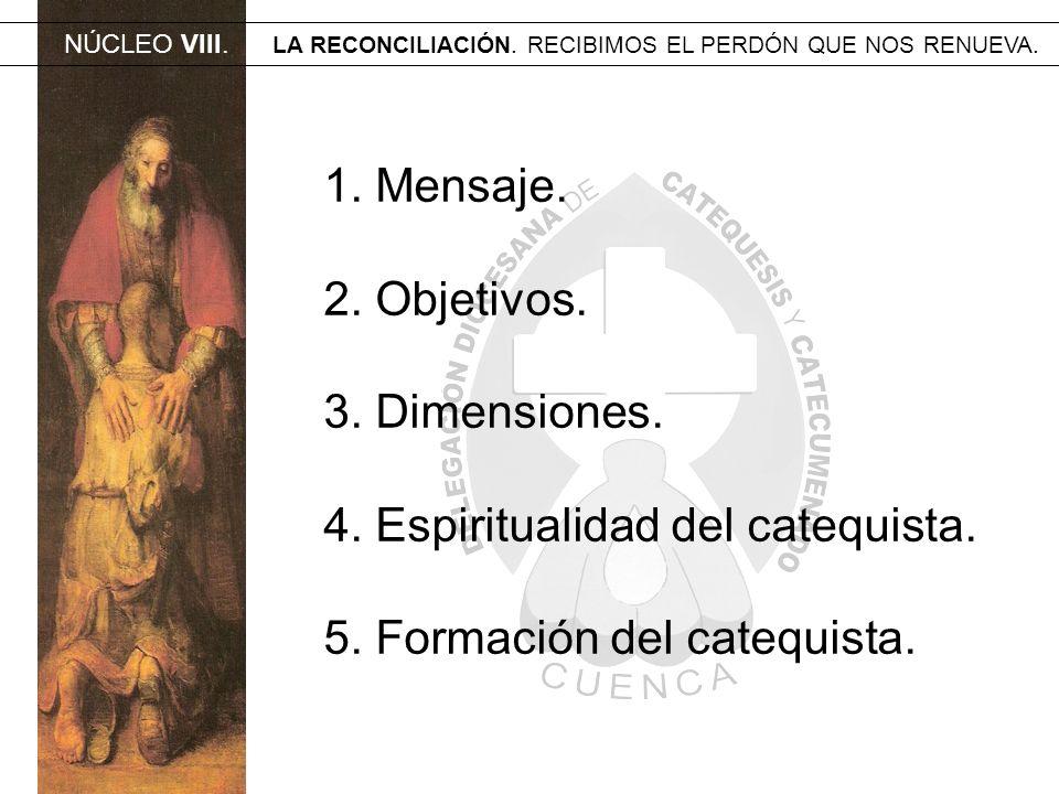 NÚCLEO VIII. LA RECONCILIACIÓN. RECIBIMOS EL PERDÓN QUE NOS RENUEVA. 1. Mensaje. 2. Objetivos. 3. Dimensiones. 4. Espiritualidad del catequista. 5. Fo