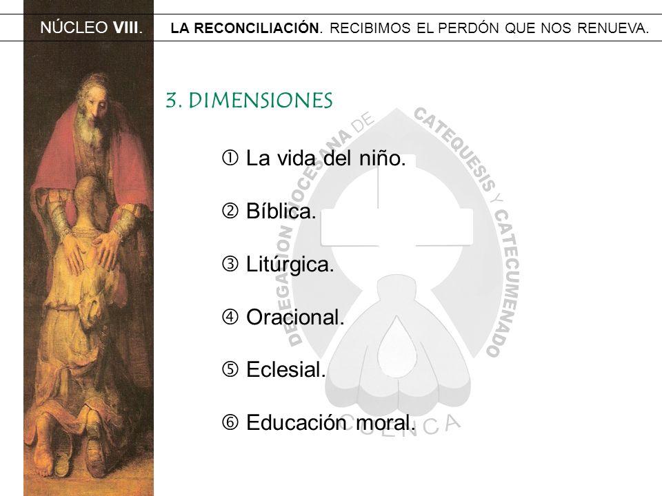 NÚCLEO VIII. LA RECONCILIACIÓN. RECIBIMOS EL PERDÓN QUE NOS RENUEVA. 3. DIMENSIONES La vida del niño. Bíblica. Litúrgica. Oracional. Eclesial. Educaci